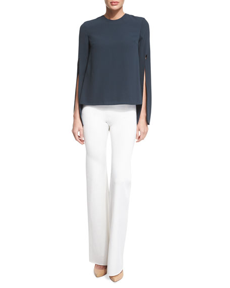 Cushnie et Ochs Bella Split-Sleeve Jewel-Neck Blouse, Lake