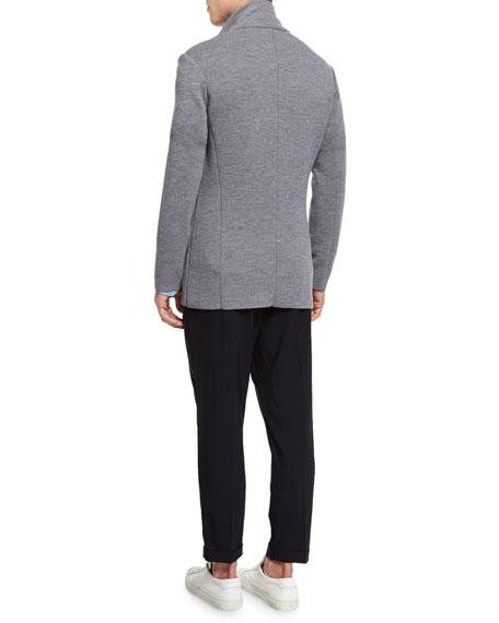 Button-Down Wool Knit Blazer, Heathered Cinder
