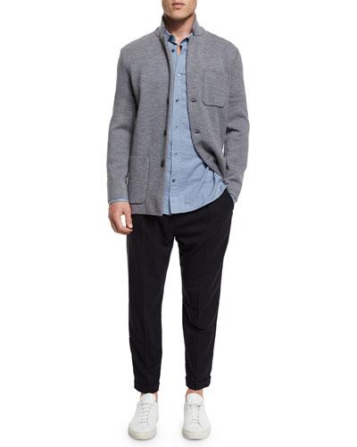 Button-Down Wool Knit Blazer, Double-Face Long-Sleeve Sport Shirt & Cuffed-Hem Stretch-Wool Pants