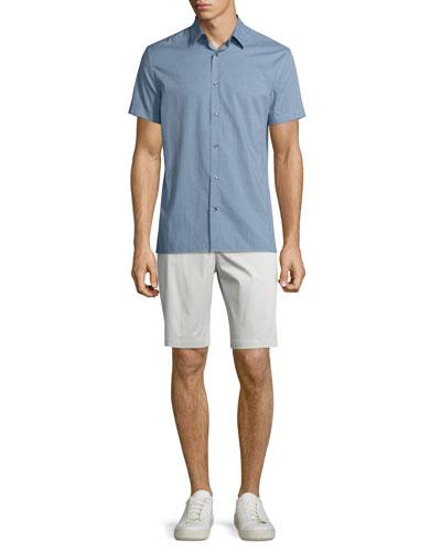 Micro-Check Print Short-Sleeve Shirt & Flat-Front Sateen Shorts