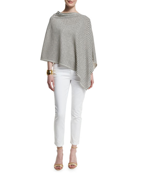 Eileen Fisher Striped Reversible Poncho, Moon
