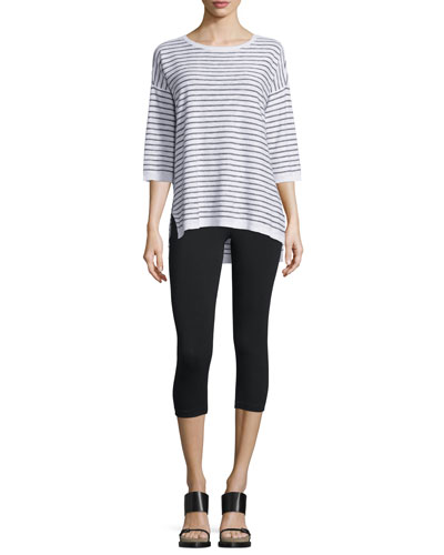 Slub Striped Tunic & Jersey Capri Leggings