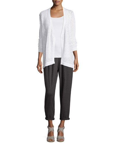 Boucle Shaped Cardigan, Organic Cotton Slim Tank & Hemp Twist Ankle Pants