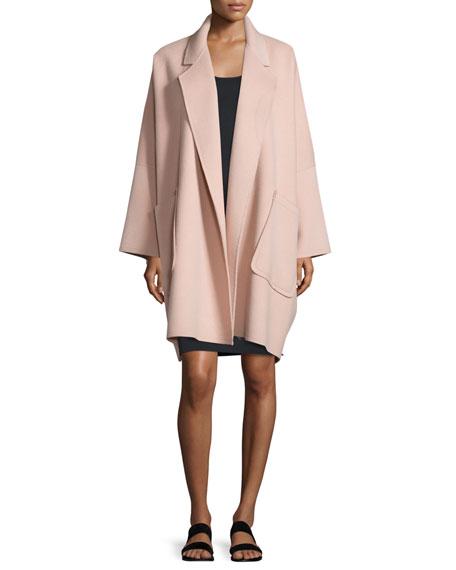 Helmut Lang Oversized Open-Front Wool-Blend Coat, Dusty Pink