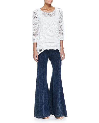 Delaney Crochet 3/4-Sleeve Top, Slim Cotton Tank & French Terry Wide-Leg Pants