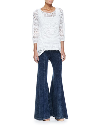 Delaney Crochet 3/4-Sleeve Top, Slim Cotton Tank & French Terry Wide-Leg Pants, Women's