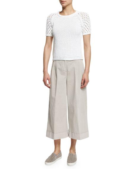 Peserico Short-Sleeve Cotton Crochet Sweater
