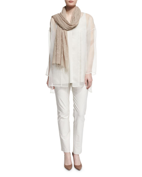 Eileen Fisher Long Washed Silk Organza Jacket