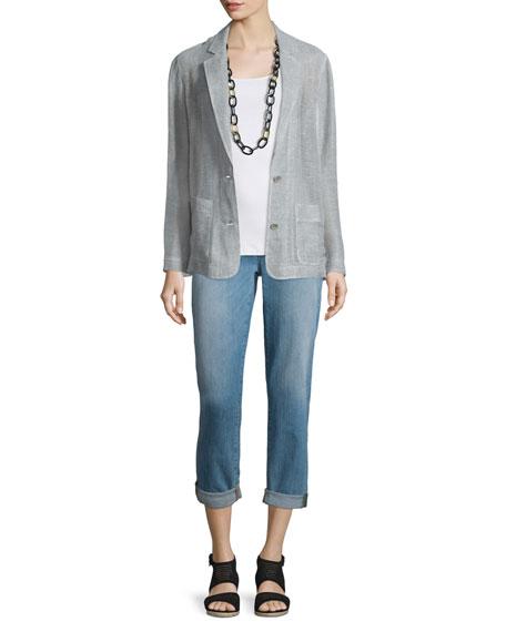 Eileen Fisher Notch-Collar Two-Button Linen Mesh Blazer, Plus