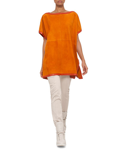 Short-Sleeve Suede Tunic Blouse & Melissa Mid-Rise Slim Pants