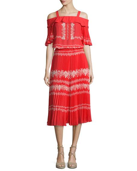 Self Portrait Pleated Flower Spell Midi Skirt, Red/Cream