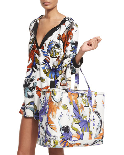 Jungle-Print Hooded Coverup Tunic & Jungle-Print Canvas Tote Bag