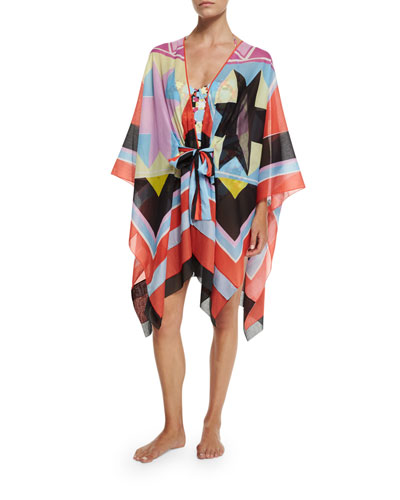 Monreale Print Belted Caftan Coverup & Monreale Printed One-Piece Swimsuit