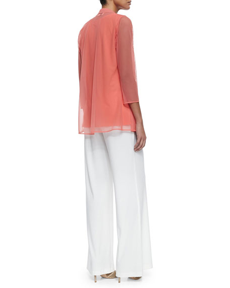3/4-Sleeve Illusion Sheer Cardigan, Petite