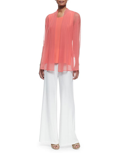 Illusion Sheer Cardigan & Sleeveless Long Tank, Plus Size