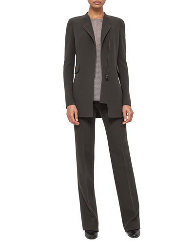 Asymmetric Zip-Front Long Jacket & Carole Flat-Front Straight-Leg Pants
