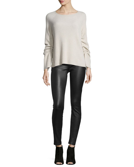 Helmut LangRibbed Ruched-Sleeve Sweater, Shell