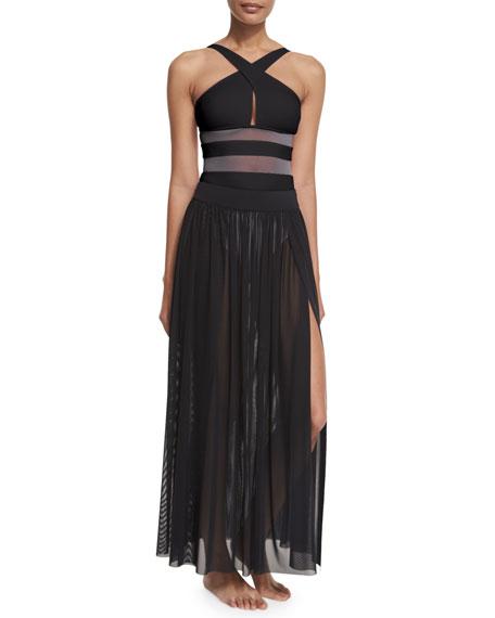 Aspire Layered Mesh Maxi Coverup Skirt, Black