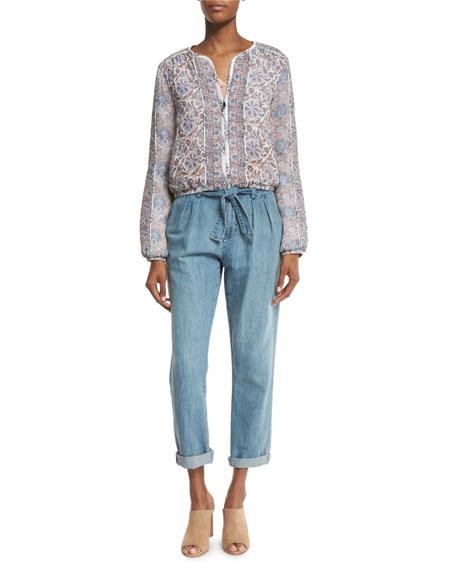 Jodi Floral-Print Silk Bomber Jacket, Vintage Petal Compare Price