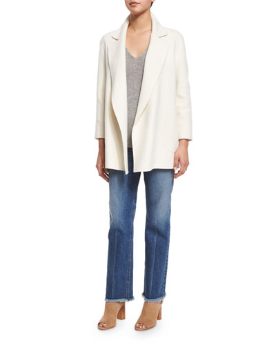 Clairene New Divide Open-Front Coat, Adrianna R. Cashmere Sweater & Ossella Carlisle-Wash Denim Jeans