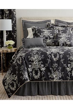 "Sherry Kline Home European ""French Toile"" Striped Sham ""French Toile"" Neck Roll Pillow, 6"" x 20"""