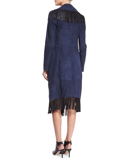 haute hippie suede fringe coat sleeveless silk tie front