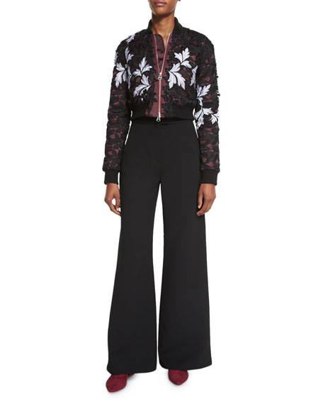 Self-Portrait Floral-Lace Satin Cropped Bomber Jacket