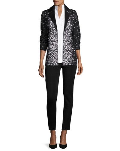 Luxe Leopard-Print Jacket, Shirt & Pants