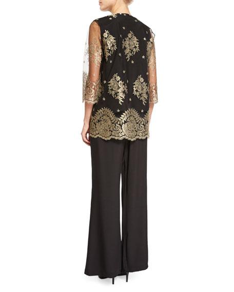 Luxury Lace Jacket, Gold/Black, Petite