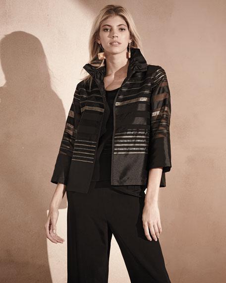 Striped Organza Bracelet-Sleeve Jacket, Multi/Black