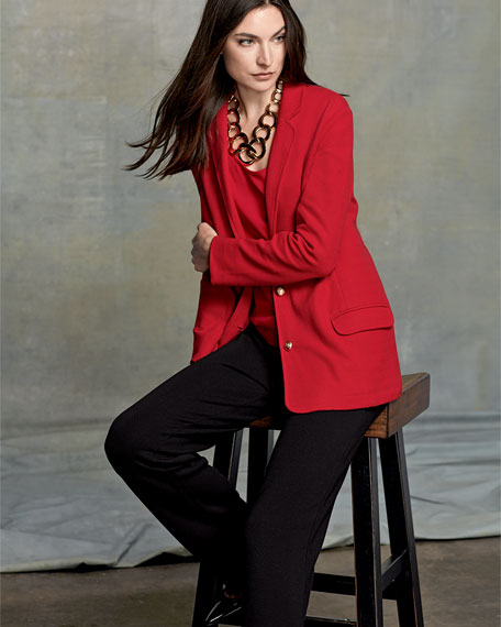 Two-Button Long Pique Blazer, Classic Red