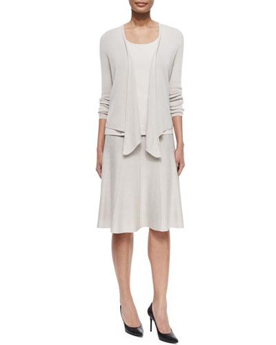 4-Way Linen-Blend Knit Cardigan, Perfect Jersey Scoop-Neck Tank & Paneled Twirl Skirt, Petite