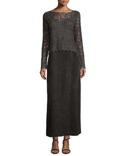 Brushed Lace Long-Sleeve Top & Long Cami Slip Dress