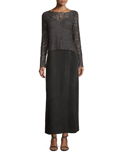 Brushed Lace Long-Sleeve Top & Long Cami Slip Dress, Plus Size