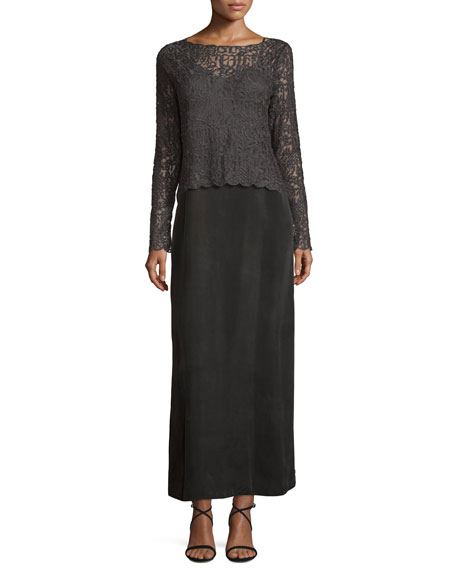 Brushed Lace Long-Sleeve Top, Plus Size