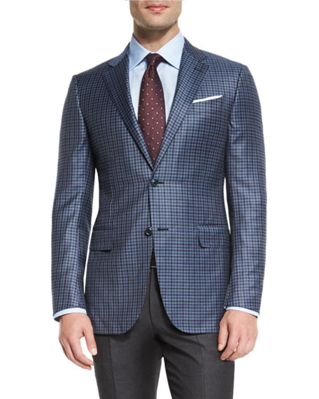 Check Two-Button Sport Coat, Gray