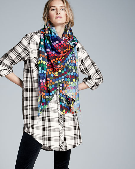Tina Long-Sleeve Plaid Tunic, Plus Size