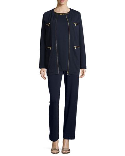 Four-Pocket Cotton Interlock Jacket, Sequined-Neck Long Tank & Interlock Jog Pants