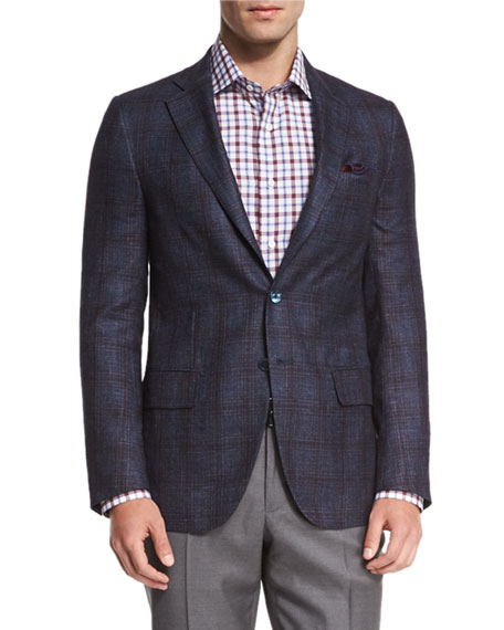 Plaid Two-Button Sport Coat, Navy/Brick
