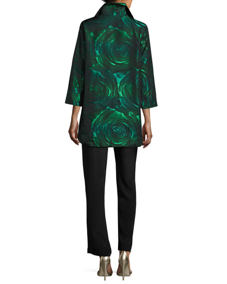 Night Blooms Jacquard Party Jacket, Emerald/Black, Petite