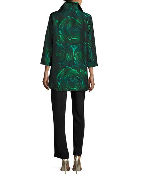 Night Blooms Jacquard Party Jacket, Emerald/Black, Petite