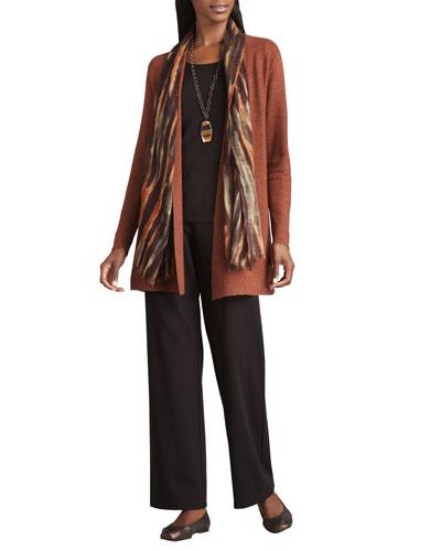 Long Wool Cardigan, Long-Sleeve Tee, Blurred Wrap & Straight-Leg Ponte Pants