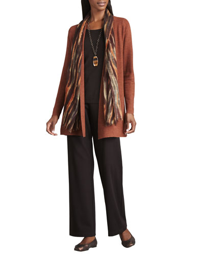 Long Wool Cardigan, Long-Sleeve Tee, Blurred Wrap & Straight-Leg Ponte Pants, Petite