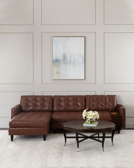 Barnes Leather Left-Arm Chaise Sectional