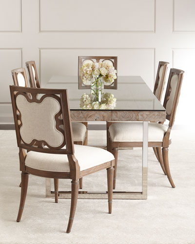 Tarragon Dining Table & Linen Clover Side Chair