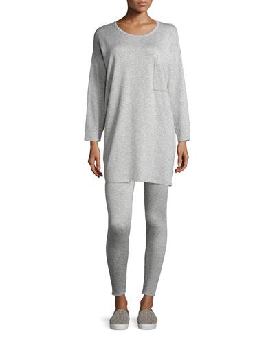 Long-Sleeve Fleece Tunic with Drama Pocket & Stretch Fleece Leggings