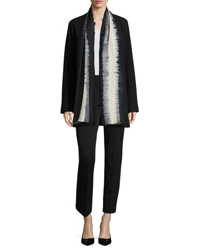 Stand-Collar Gridded Topper Jacket, Silk Jersey Long Slim Camisole & Slim Stretch-Twill Trousers, Petite
