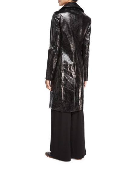 Roza Lambskin Long Coat, Black