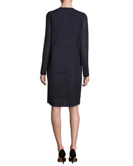 Sleeveless Pleated Stretch-Crepe Dress, Dark Blue
