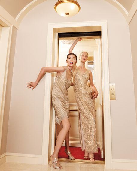 Aidan Mattox Beaded Mesh Dress, Light Gold